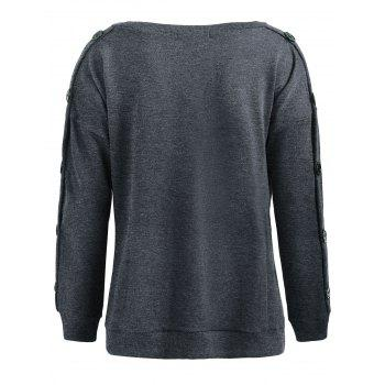 Drop Shoulder Side Slit Sweatshirt - DARK GRAY S