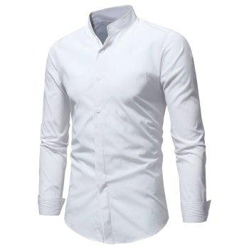 Stand Collar Solid Long Sleeve Shirt - WHITE M