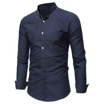 Stand Collar Solid Long Sleeve Shirt - CADETBLUE M