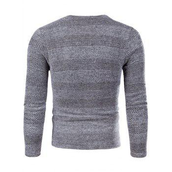 Applique Knit Long Sleeve V Neck T-shirt - GRAY L