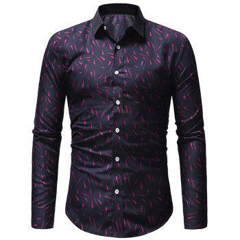 Casual Geometric Triangles Print Long Sleeve Shirt - PURPLE S