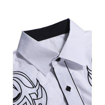 Chest Embroidery Edge Contrast Button Up Shirt - WHITE XS