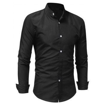 Stand Collar Solid Long Sleeve Shirt - BLACK L