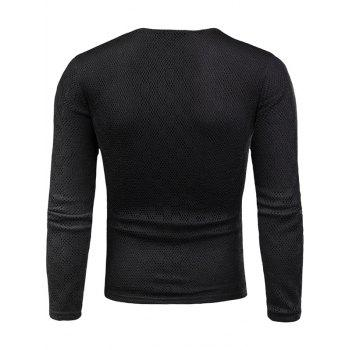 Knit Long Sleeve V Neck Applique T-shirt - BLACK M