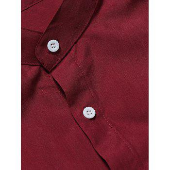 Stand Collar Solid Long Sleeve Shirt - RED S