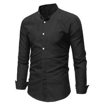 Stand Collar Solid Long Sleeve Shirt - BLACK S