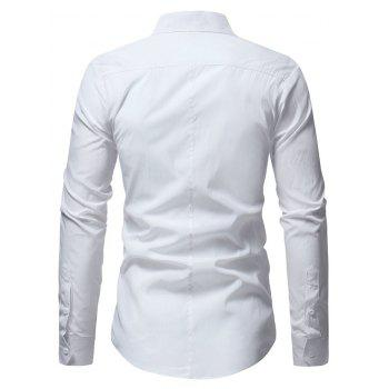 Stand Collar Solid Long Sleeve Shirt - WHITE S