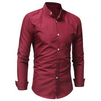 Stand Collar Solid Long Sleeve Shirt - RED XS