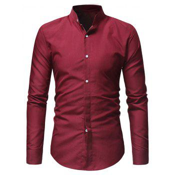 Stand Collar Solid Long Sleeve Shirt - RED M