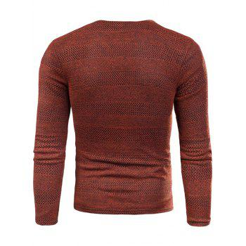 Applique Knit Long Sleeve V Neck T-shirt - RED WINE L