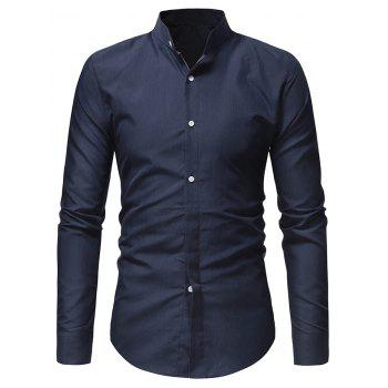 Stand Collar Solid Long Sleeve Shirt - CADETBLUE L
