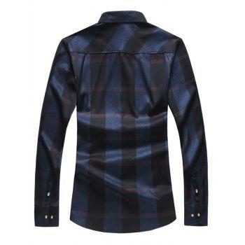 Shiny Plaid Print Long Sleeve Shirt - BLACK S