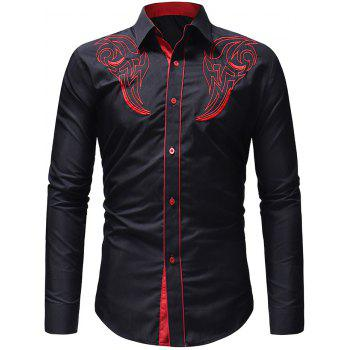 Chest Embroidery Edge Contrast Button Up Shirt - BLACK XS