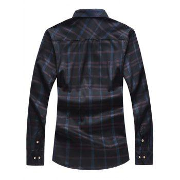 Button Up Binking Checked Shirt - BLACK M