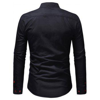 Chest Embroidery Edge Contrast Button Up Shirt - BLACK L