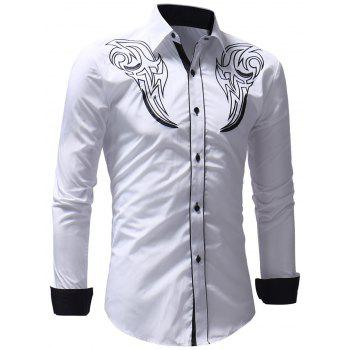 Chest Embroidery Edge Contrast Button Up Shirt - WHITE XL