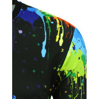 Round Neck Handprint Paint Splatter Sweatshirt - BLACK 2XL