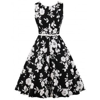 Retro Floral Print High Waist Dress - BLACK 2XL