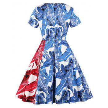 Vintage Feather Print Pin Up Dress - multicolor M