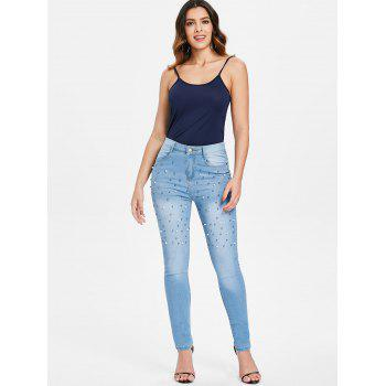 High Waist Skinny Jeans with Beads - WINDOWS BLUE M