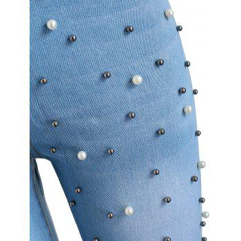 High Waist Skinny Jeans with Beads - WINDOWS BLUE XL