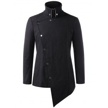 Stand Collar Asymmetric Snap Button Coat - BLACK 2XL