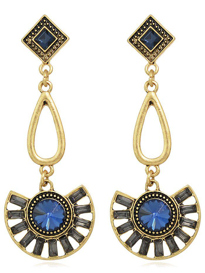 Vintage Rhinestone Long Dangle Earrings - BLUE