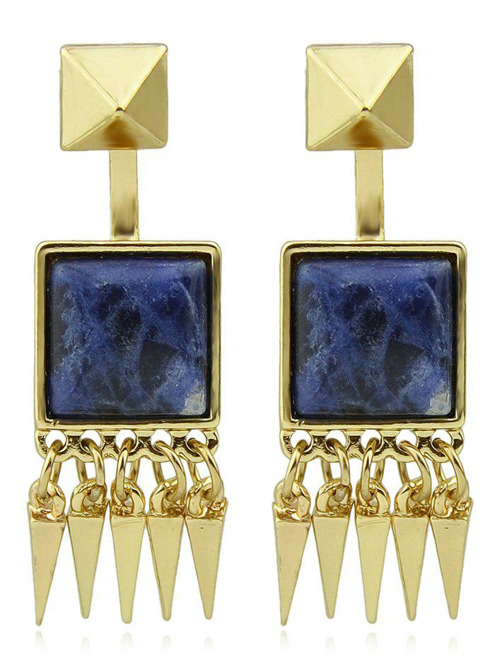 Acrylic Point Fringe Drop Earrings - CADETBLUE