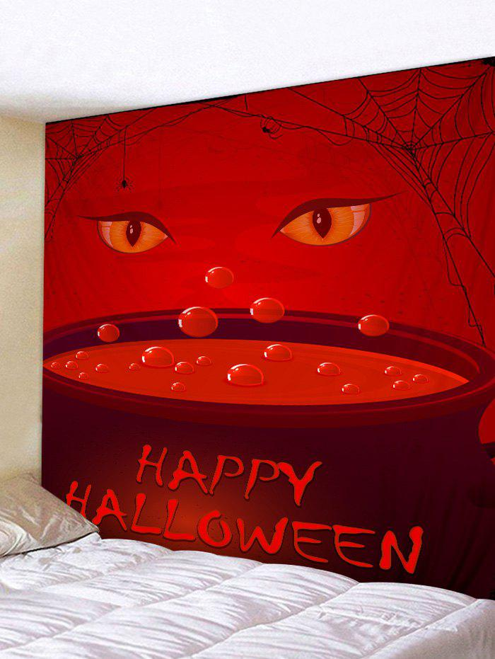 Happy Halloween Eyes Print Tapestry Wall Art - RED W79 INCH * L59 INCH