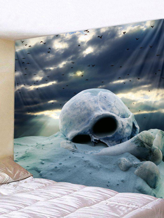 Cloudy Day Skull Print Tapestry Wall Art - BLUE GRAY W91 INCH * L71 INCH