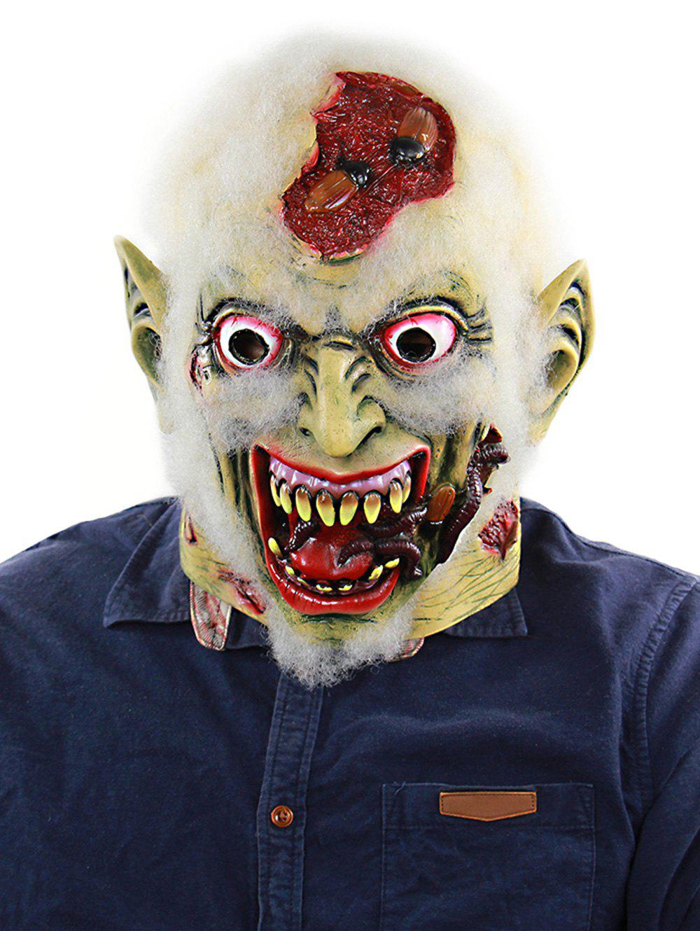 Halloween Decayed Zombie Full Head Rubber Mask - multicolor