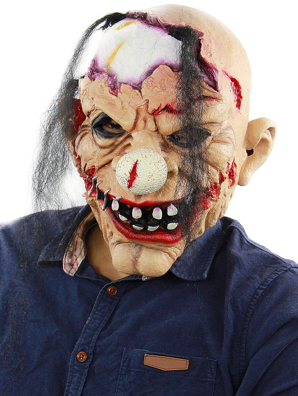 Halloween Scary Joker Zombie Realistic Full Head Mask - multicolor
