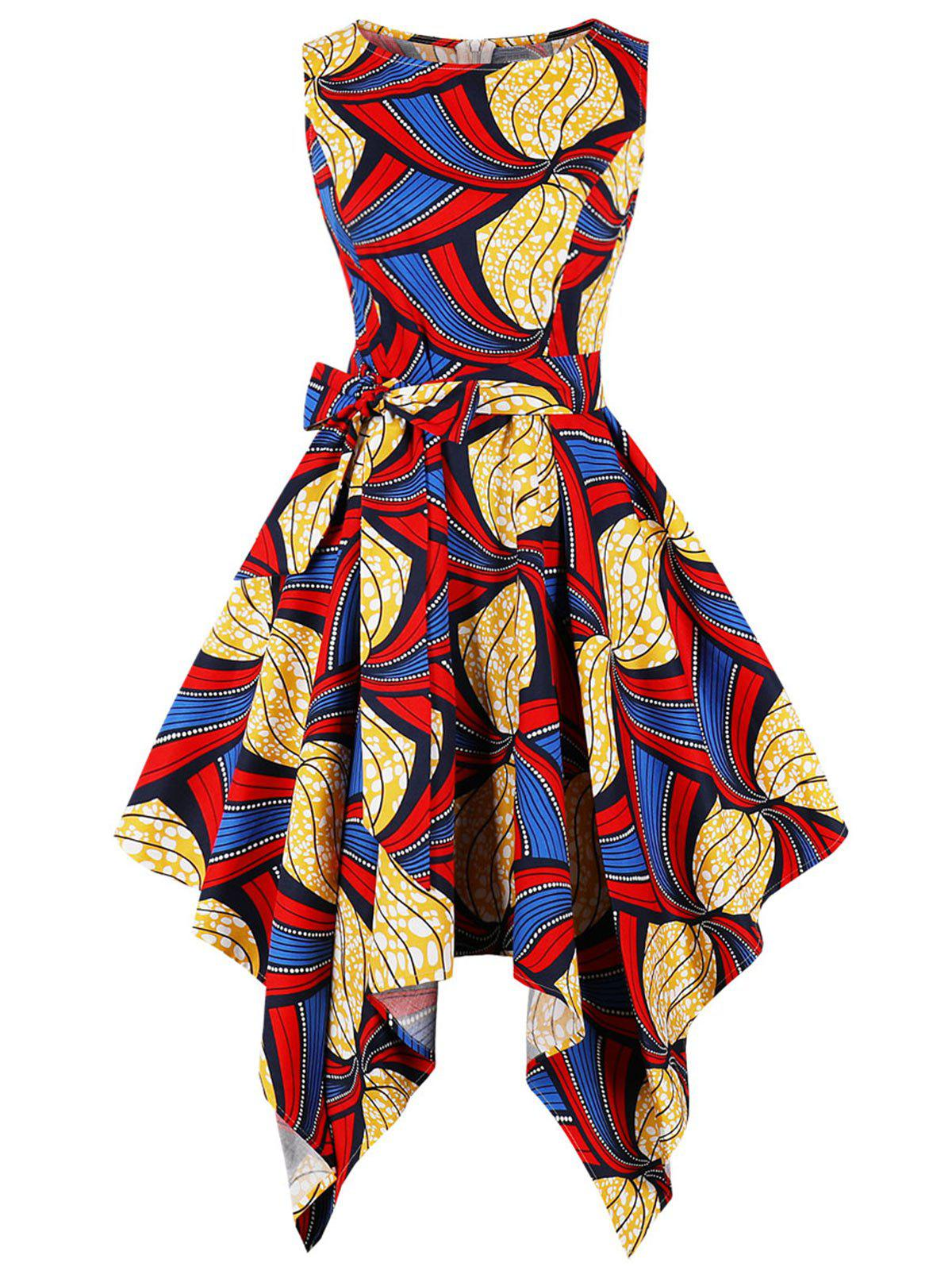 Printed Handkerchief Flare Dress - multicolor S