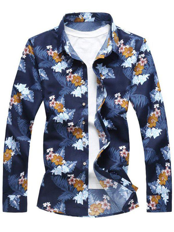 Tropical Flowers Print Long Sleeve Soft Shirt - BLUE S