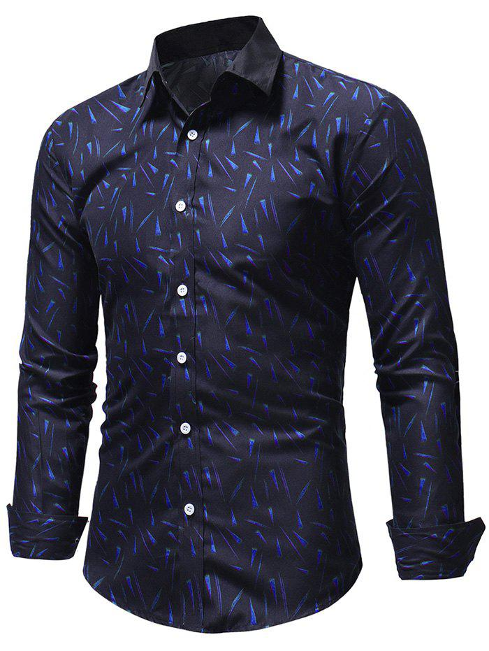 Casual Geometric Triangles Print Long Sleeve Shirt - BLUE XL