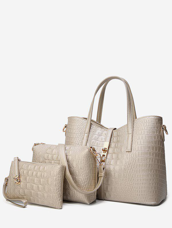 3 Pieces Embossed Chic Tote Bag Set - GOLD