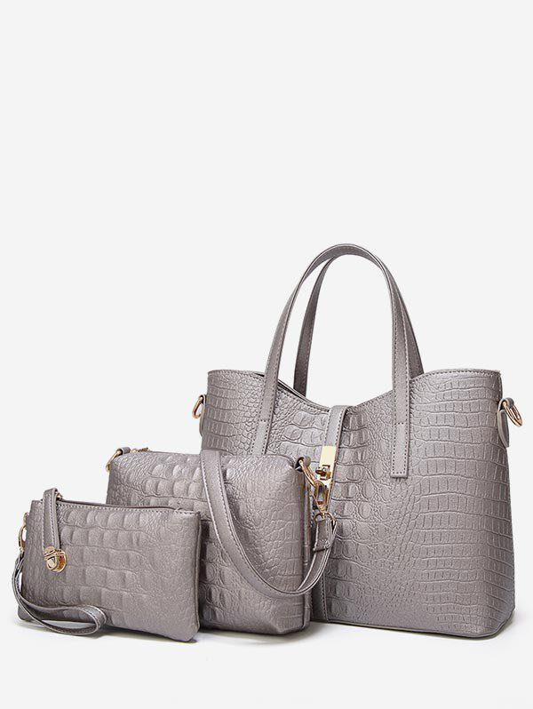 3 Pieces Embossed Chic Tote Bag Set - SILVER