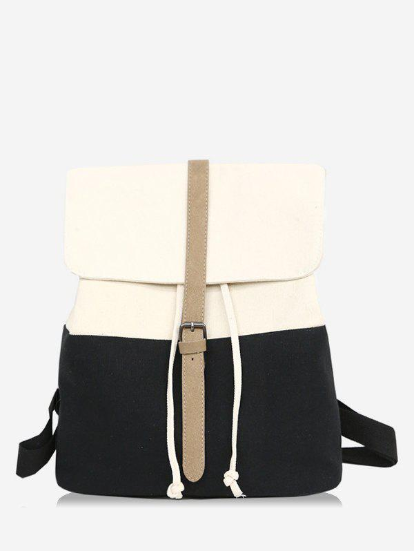 Casual Contrasting Color School Backpack - BLACK