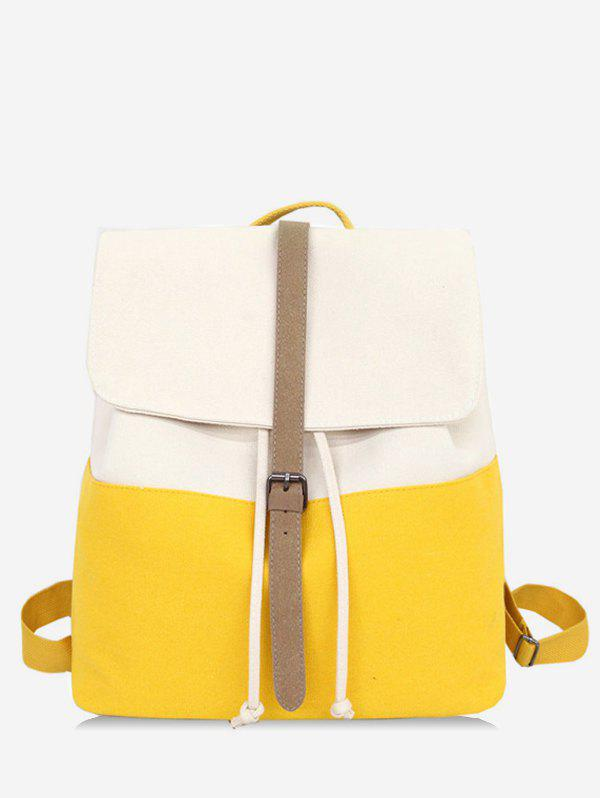 Casual Contrasting Color School Backpack - YELLOW