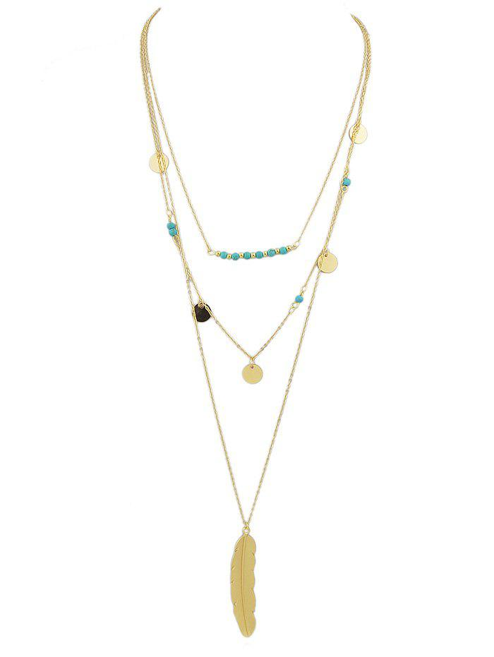 Collier en plumes de perles multicouches - Or