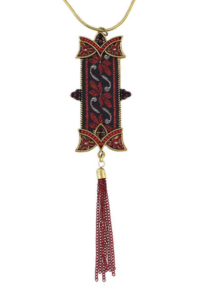 Ethnic Tassels Long Chain Necklace - RED