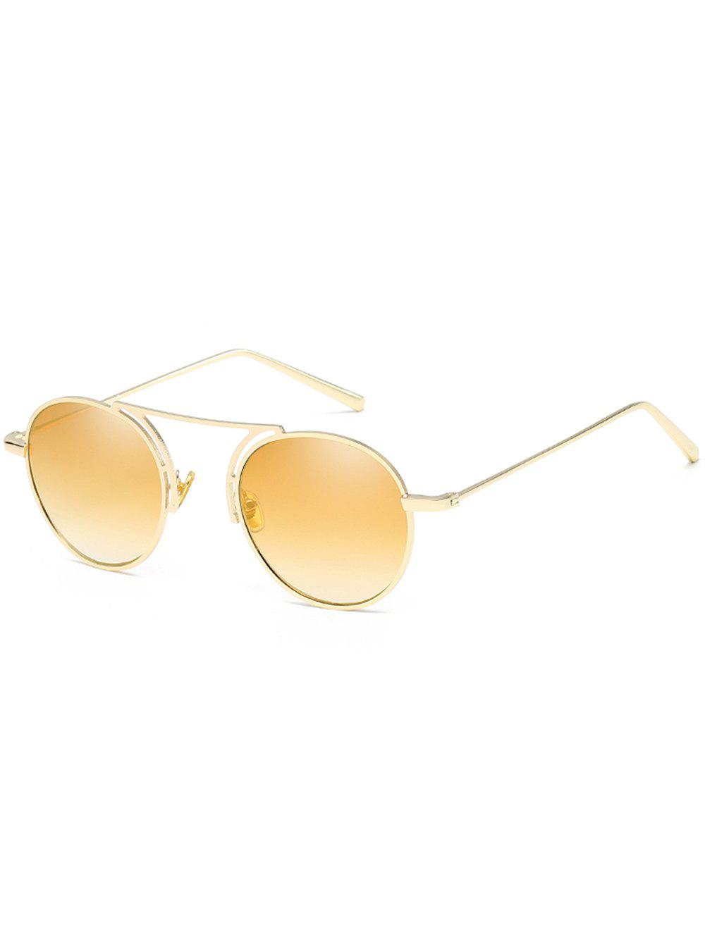 Stylish Thin Metal Frame Oval Sunglasses - CHAMPAGNE GOLD