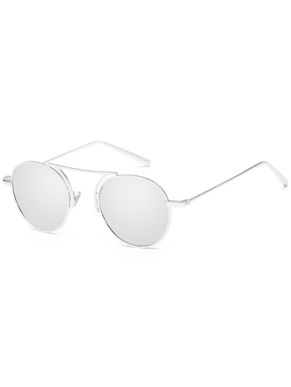Stylish Thin Metal Frame Oval Sunglasses - PLATINUM
