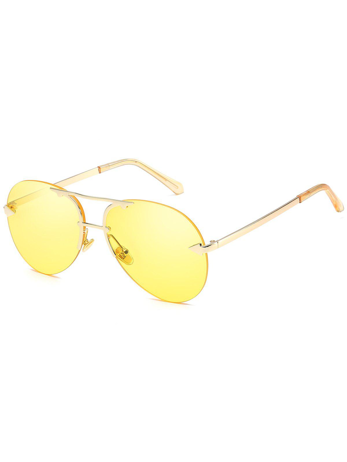 Anti UV Top Bar Rimless Sunglasses - YELLOW