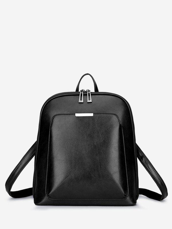 Faux Leather Casual School Backpack - BLACK