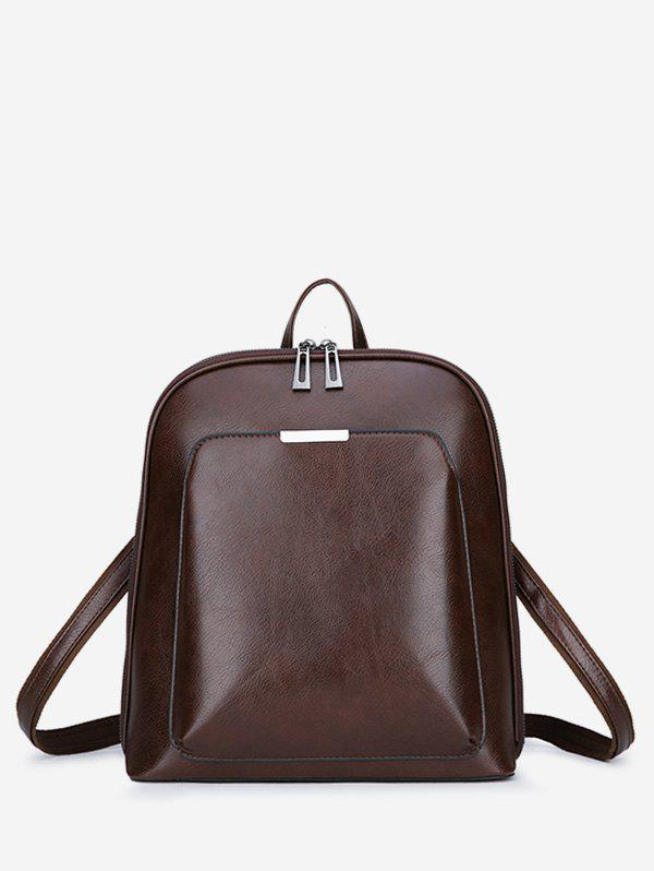 Faux Leather Casual School Backpack - DEEP BROWN