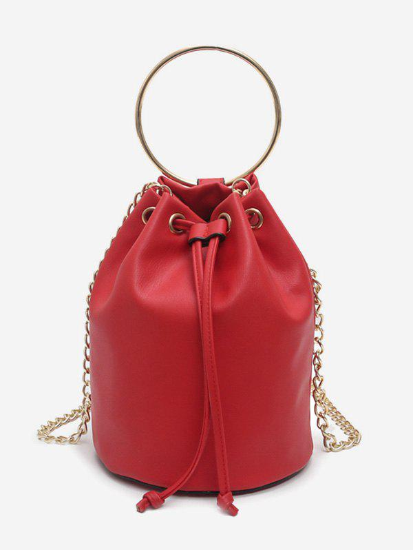 Minimalist Round Ring Metal Chain Bag - LAVA RED