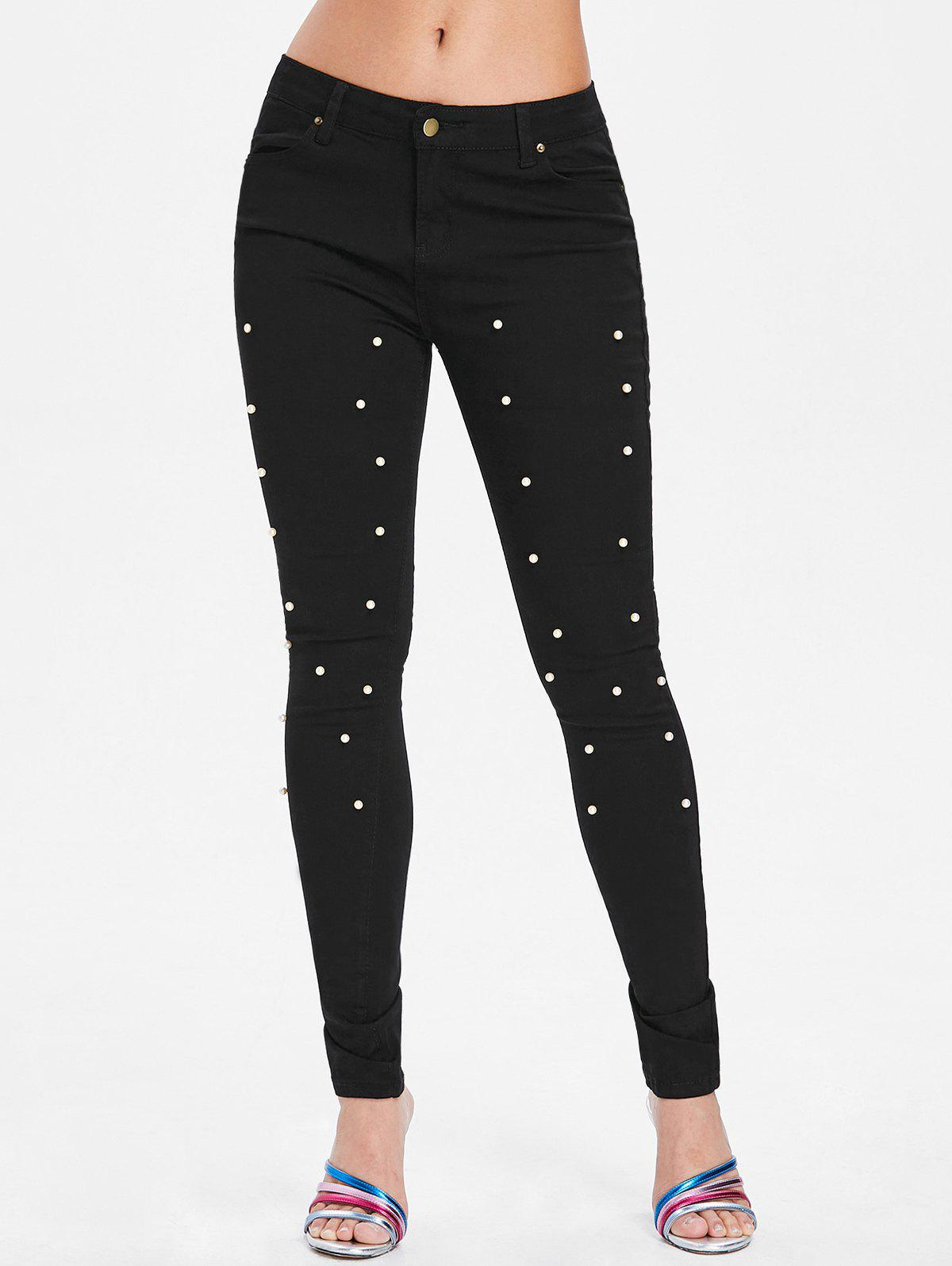 Beading Mid Waist Bodycon Pants - BLACK L