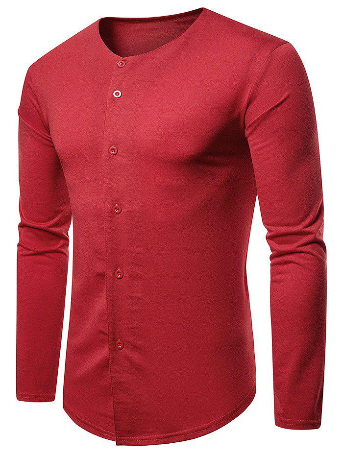 Round Neck Button Up Casual T-shirt - CHESTNUT RED L