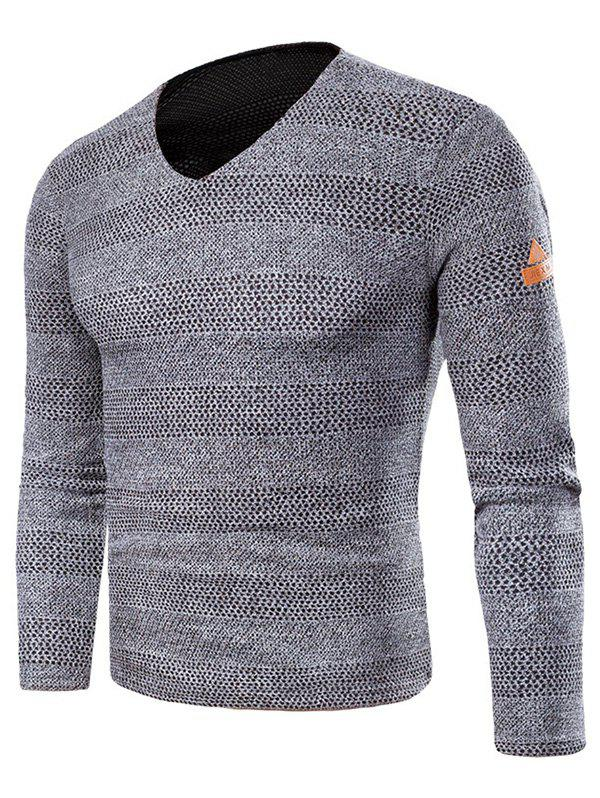 Applique Knit Long Sleeve V Neck T-shirt - GRAY M